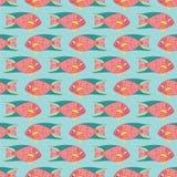 Sömlös modell av fisken för korallrev på en blå bakgrund stock illustrationer