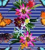 Sömlös modell av fjärilar och blommor royaltyfri illustrationer