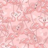 Sömlös modell av flamingo stock illustrationer