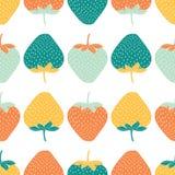 Sömlös modell av flerfärgade jordgubbar också vektor för coreldrawillustration stock illustrationer