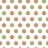 Sömlös modell av glasade donuts royaltyfri illustrationer