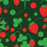 Sömlös modell av gröna sidor och jordgubbar vektor illustrationer