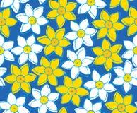 Sömlös modell av gula och vita pingstliljor på blå bakgrund Arkivfoto
