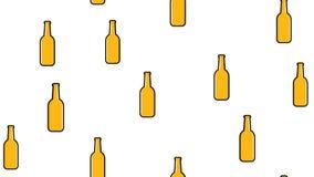 Sömlös modell av gula upprepande alkoholiserade ölglasflaskor med för flygturexponeringsglas för öl skummigt lager för hantverk f royaltyfri illustrationer