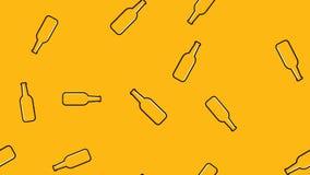 Sömlös modell av gula upprepande alkoholiserade ölglasflaskor med för flygturmalt för öl ett skummigt lager för hantverk på en gu vektor illustrationer