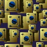 Sömlös modell av guld- plattor med blåa skruvar skuggor ger den bakgrundsperspektivet och volymen royaltyfri illustrationer