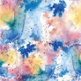 Sömlös modell av guling, ros, blåa vattenfärgfläckar på en vit bakgrund stock illustrationer