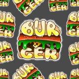 Sömlös modell av hamburgarna cheeseburger vektor royaltyfri illustrationer