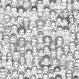 Sömlös modell av 100 hand drog framsidor som är svartvit royaltyfri illustrationer