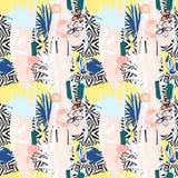 Sömlös modell av hand drog tropiska palmblad, blommor, fåglar stock illustrationer