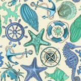 Sömlös modell av havsdjur och nautiska beståndsdelar royaltyfri illustrationer