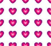 sömlös modell av hjärtor på en vit bakgrund retro stil Spriting stock illustrationer