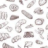 Sömlös modell av kött, korvar, köttprodukter vektorhandteckningar på en vit bakgrund Royaltyfria Foton