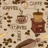 Sömlös modell av kaffe royaltyfri illustrationer