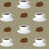 Sömlös modell av kaffekoppar och kaffebönor Arkivfoton
