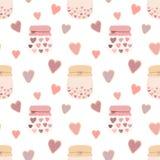 Sömlös modell av kakor för förälskelseformhjärtor, krus av driftstopp på en ljus bakgrund Vektorbild för valentin dag, vänner, tr royaltyfri illustrationer