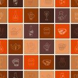 Sömlös modell av keramiska tegelplattor i bruna signaler Tegelplattor med hand-drog objekt: tekannor koppar, karaffer, vaser Vekt vektor illustrationer