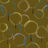 Sömlös modell av konturer av cirklar, träd på en brun bakgrund vektor royaltyfri illustrationer