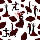 Sömlös modell av konturer av dansareflamenco royaltyfri illustrationer
