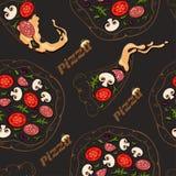 Sömlös modell av konturpizza och pizzaskivor med färgingredienser stock illustrationer