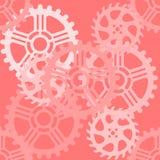 Sömlös modell av kugghjul i rosa signaler Royaltyfria Foton