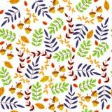 Sömlös modell av många färgsidor och eken, naturtapet arkivfoto