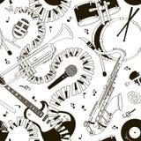 Sömlös modell av musikinstrument Royaltyfri Foto
