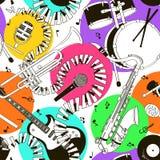 Sömlös modell av musikinstrument vektor illustrationer