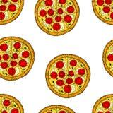 Sömlös modell av pizza i tecknad filmstil vektor illustrationer