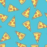 Sömlös modell av pizza, plan stil royaltyfri illustrationer