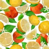 Sömlös modell av poly citroner och tangerin lågt royaltyfri illustrationer