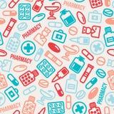 Sömlös modell av preventivpillerar och kapselsymboler stock illustrationer
