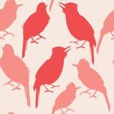 Sömlös modell av röda konturfåglar för rosa ande royaltyfri illustrationer