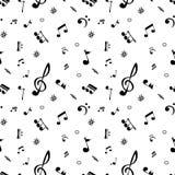 Sömlös modell av realistiska musikaliska anmärkningar vektor Royaltyfria Bilder