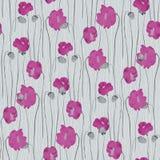 Sömlös modell av rosa blommor av vallmo på en turkosbakgrund Vattenf?rg -1 stock illustrationer
