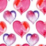 Sömlös modell av rosa färger och purpurfärgade hjärtor valentin Arkivbild