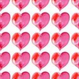 Sömlös modell av rosa hjärtor vektor för valentin för pardagillustration älska vattenfärg Royaltyfri Foto