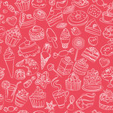 Sömlös modell av sötsaker i vektor stock illustrationer