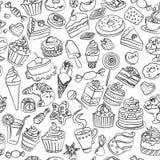 Sömlös modell av sötsaker i vektor royaltyfri illustrationer