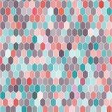 Sömlös modell av sexhörningar, rosa färger, blått, brunt vektor Arkivfoton