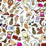 Sömlös modell av slumpmässiga klotter och teckningar av objekt och varelser royaltyfri bild