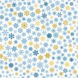 Sömlös modell av snöflingor, blått och brunt på vit Fotografering för Bildbyråer