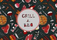 Sömlös modell av sommargallret och BBQ Biff korv, grillfestraster, tång, gaffel, brand, ketchup Svart brädebakgrund och Ch Arkivfoton