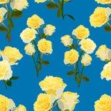 Sömlös modell av stora och små buketter av gula rosor stock illustrationer