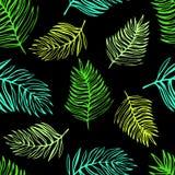 Sömlös modell av tropiska exotiska sidor royaltyfri illustrationer