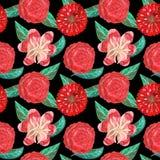 Sömlös modell av tropiska för gouache röda dekorativa och mexikanska blommor och gröna sidor royaltyfri fotografi