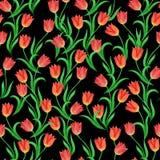 Sömlös modell av tulpanblommor på en svart bakgrund royaltyfri illustrationer