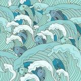 Sömlös modell av vågor och fisken stock illustrationer