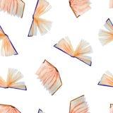 Sömlös modell av vattenfärgbeståndsdelar för avläggande av examen, hand-drog böcker royaltyfri illustrationer