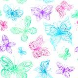 Sömlös modell av vattenfärgfjärilar Arkivbilder